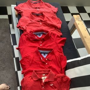 6 red polo shirts